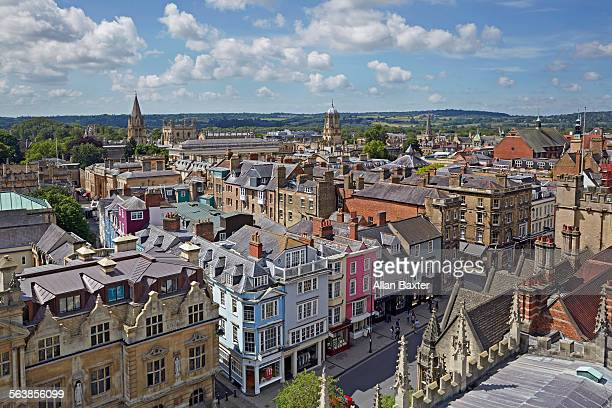elevated panorama of oxford high street - oxford england stock pictures, royalty-free photos & images