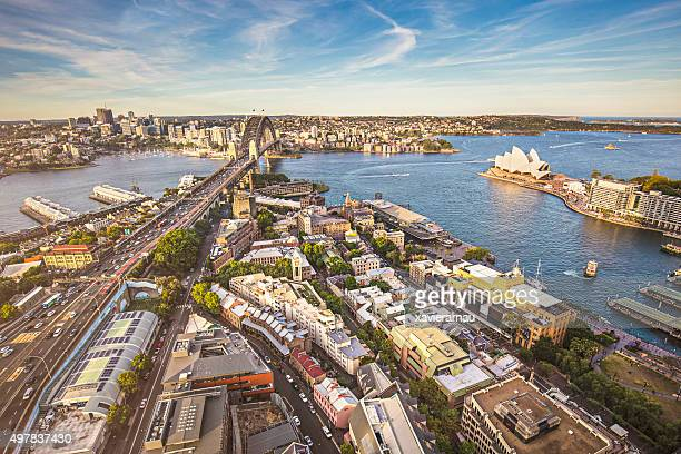Elevated panorama of Sydney at sunset