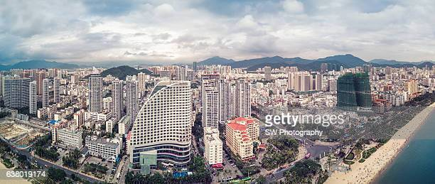 Elevated panorama view of Sanya city, China