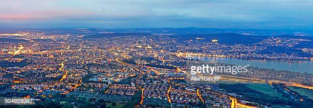 Elevated panoramic format cityscape of Zurich