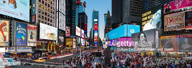 Elevated panoramic view of crowds in Times Square, New York, USA