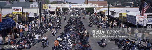 Elevated panoramic view of Main Street with motorcycles lining road at the 67th Annual Sturgis Motorcycle Rally Sturgis South Dakota August 612 2007