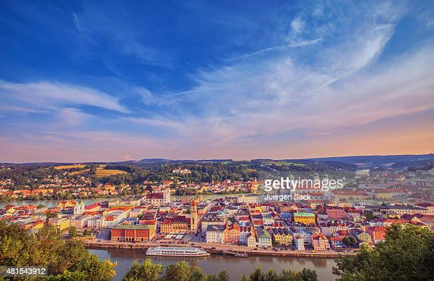 Elevated panoramic view on Passau at dusk