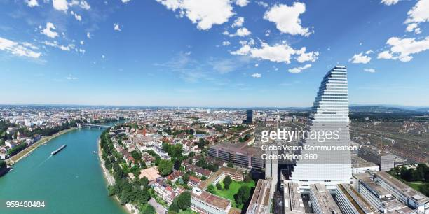 elevated perspective of roche tower in basel, switzerland - basel switzerland stock pictures, royalty-free photos & images