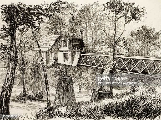 Elevated railway, the American Centennial Exhibition, Fairmount Park, Philadelphia, United States of America, illustration from the magazine The...