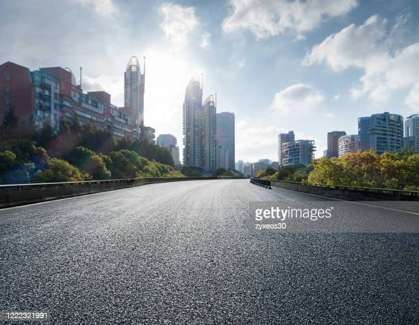 elevated road and bridge in shanghai's pudong financial district and residential district - paved driveway stock pictures, royalty-free photos & images