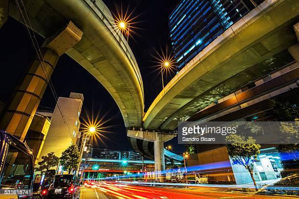 Elevated road at night in Osaka