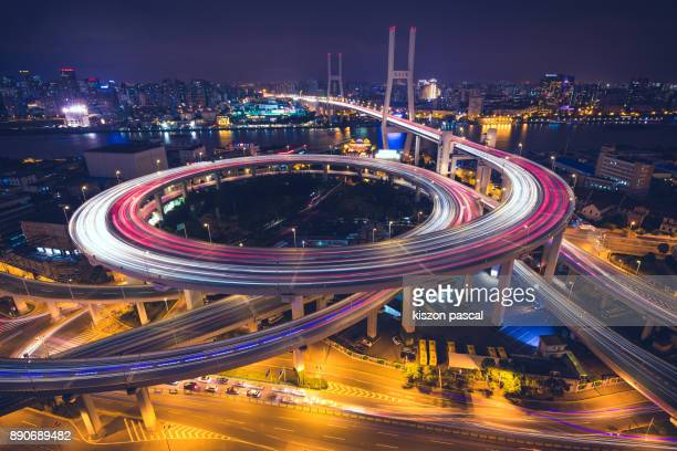 elevated road in Shanghai in China at night