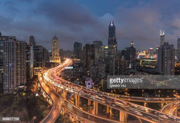 elevated road junction at night, Shanghai