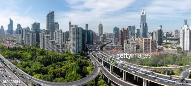 estradas elevadas em xangai - china oriental - fotografias e filmes do acervo
