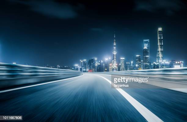elevated road,the oriental pearl tower on background,shanghai - empty road stock pictures, royalty-free photos & images