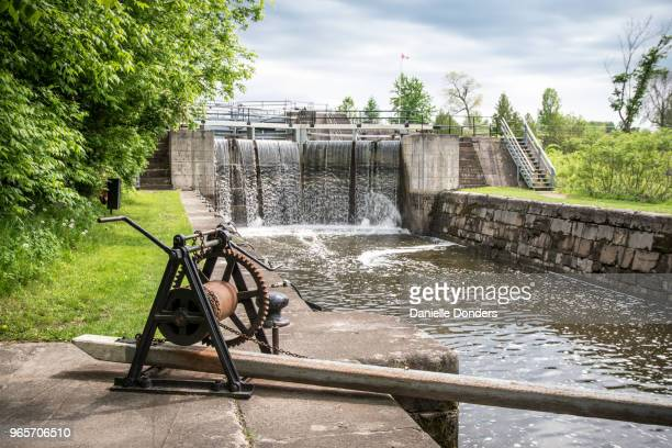 Elevated shot of crank to open Long Island Lock station on the Rideau Canal near Manotick