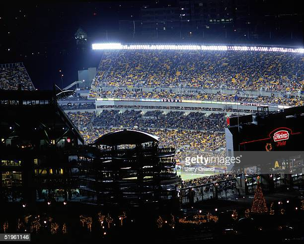 Elevated side view of Heinz Field as the Pittsburgh Steelers host the New York Jets on December 12 2004 in the Pittsburgh Pennsylvania Steelers won...