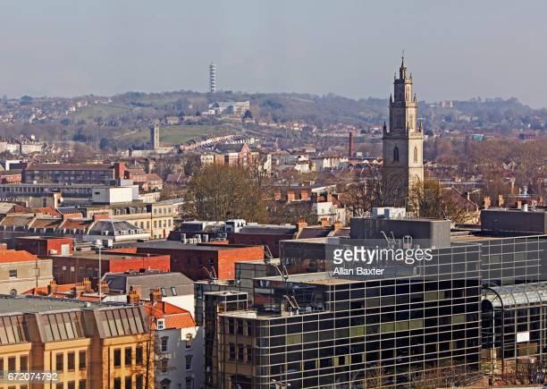 Elevated skyline of Bristol city