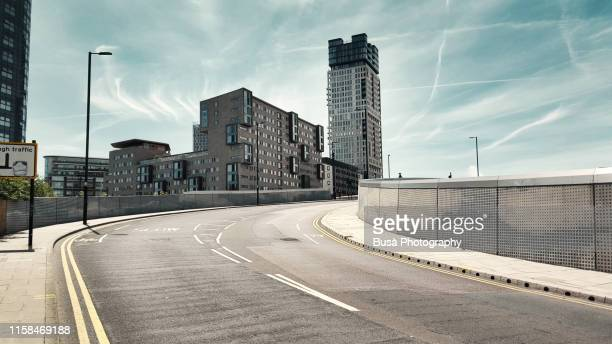 elevated viaduct in the new area of stratford, london, uk - business finance and industry stock pictures, royalty-free photos & images