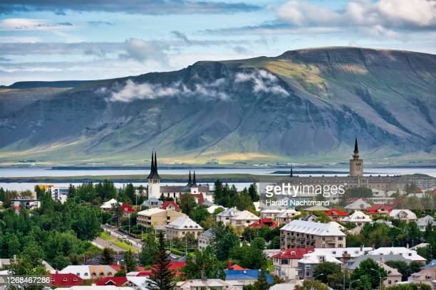 elevated view across reykjavik, capital region, iceland - iceland stock pictures, royalty-free photos & images