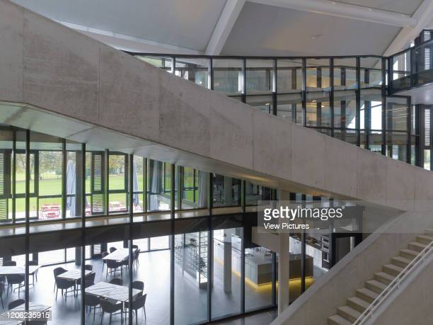 Elevated view across stairways with cafeteria Auditorium Carnal Hall at Le Rosey Rolle Switzerland Architect Bernard Tschumi 2015