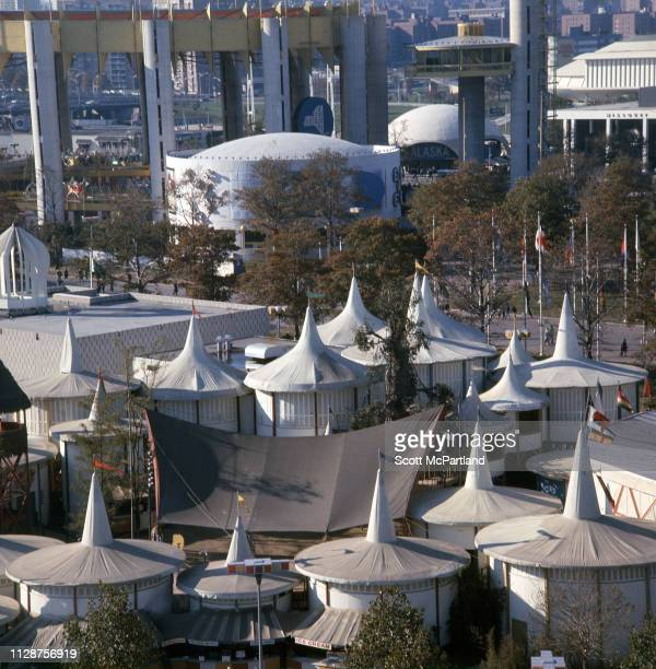 Elevated view across the African Pavilion during the World's Fair in Queens New York New York June 1965 Visible in the background are from left the...