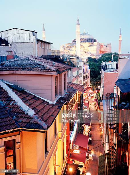 Elevated view along busy street to Aya Sofia