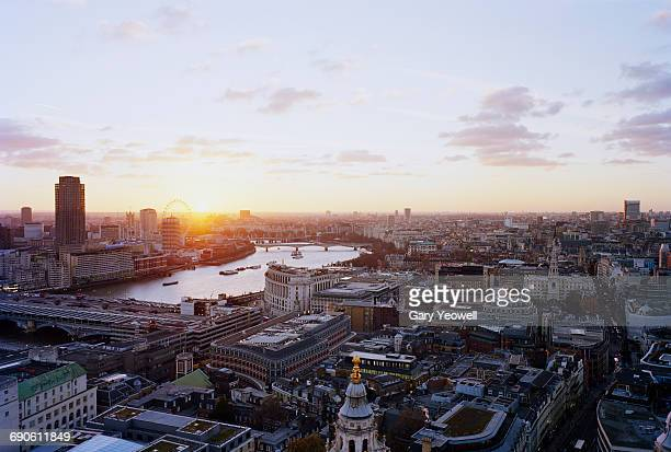 Elevated view along River Thames in London