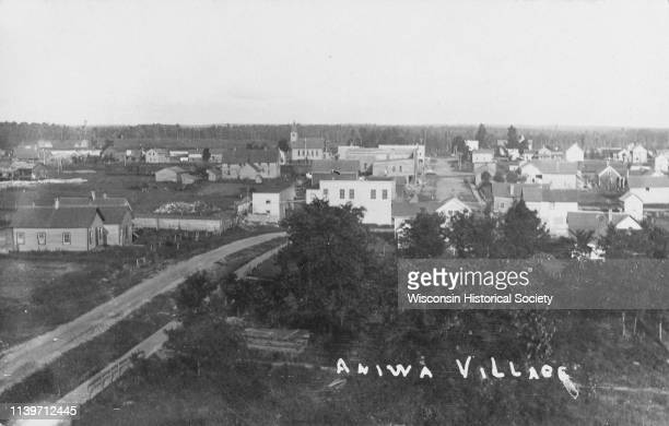 Elevated view Aniwa Wisconsin 1910 'Aniwa Village' is written on the photograph