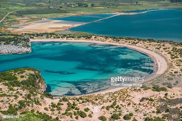 elevated view, aquamarine water, voidokilia beach - messenia fotografías e imágenes de stock