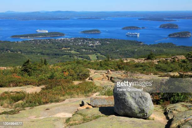 elevated view at a bay with 2 big cruise ships and several islands covered with forest - rainer grosskopf stock pictures, royalty-free photos & images