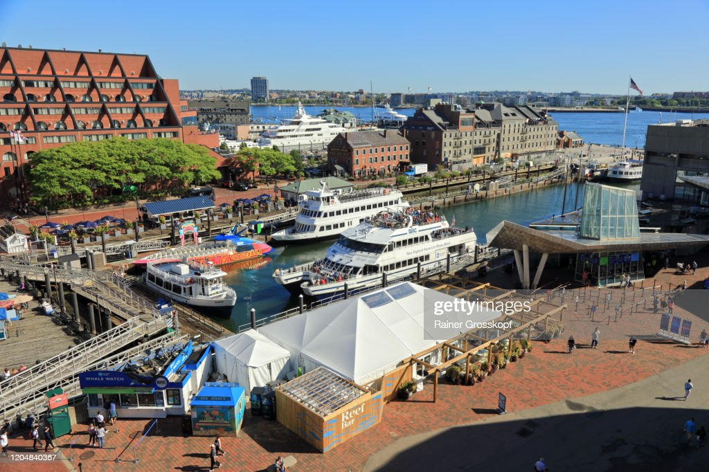 Elevated view at Boston harbor with several tour boats : Stock-Foto