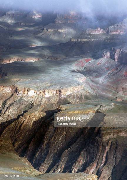 Elevated view at Grand Canyon in mist, Flagstaff, Arizona, USA