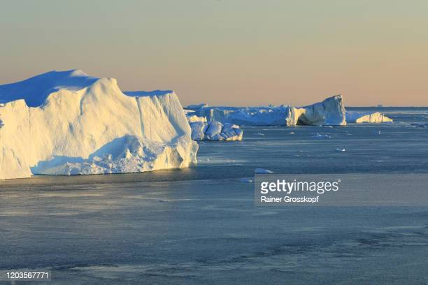 elevated view at huge icebergs in the icefjord at late afternoon - rainer grosskopf stockfoto's en -beelden