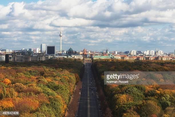 Elevated view Berlin skyline seen over Tiergarten park, Germany