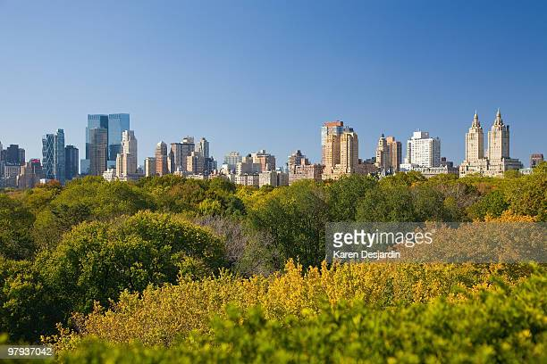 elevated view, central park and skyline, new york - metropolitan museum of art new york city stock pictures, royalty-free photos & images