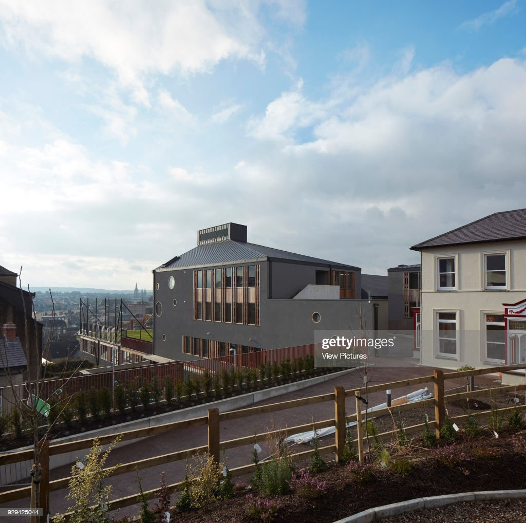 elevated view from schools orchard garden over campus and city st angelas college cork