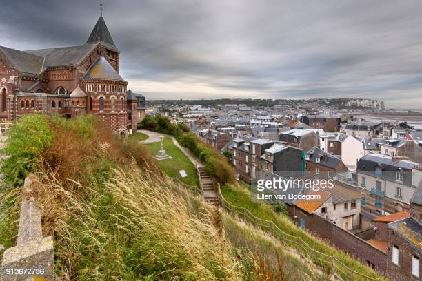 elevated view from the cliffs at mers-les-bains, a touristic seaside resort, situated on the coast of the english channel - hauts de france stock photos and pictures