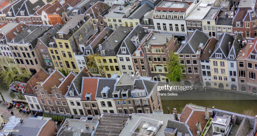 Elevated view from the Dom Tower on the medieval centre of Utrecht : Stockfoto