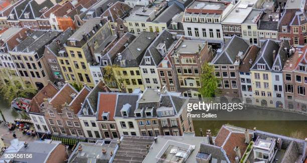 elevated view from the dom tower on the medieval centre of utrecht - utrecht stockfoto's en -beelden