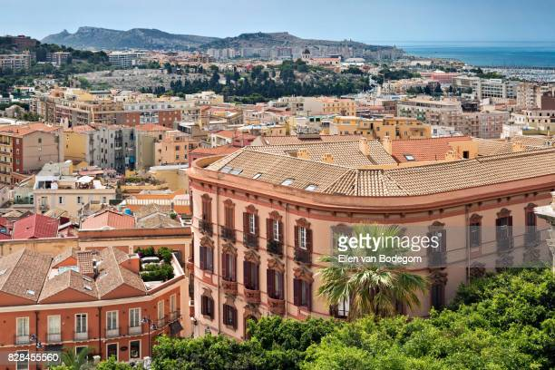 elevated view from the historic district of castello over the city of cagliari - cagliari stock pictures, royalty-free photos & images
