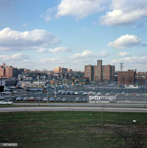 Elevated view looking north of a municipal parking lot at the intersection of 92nd Street and 57th Avenue in the Elmhurst neighborhood Queens New...