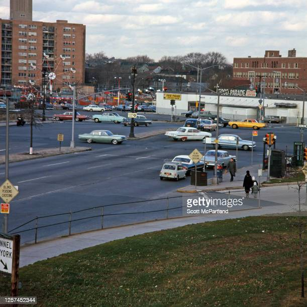 Elevated view looking north of vehicle traffic at the intersection of Queens and Woodhaven boulevards in the Elmhurst neighborhood Queens New York...