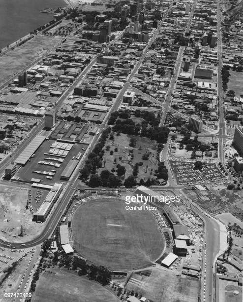 Elevated view looking onto the West Australia Cricket Asscociation cricket ground in preparation the Test Match between Australia and England on 22...