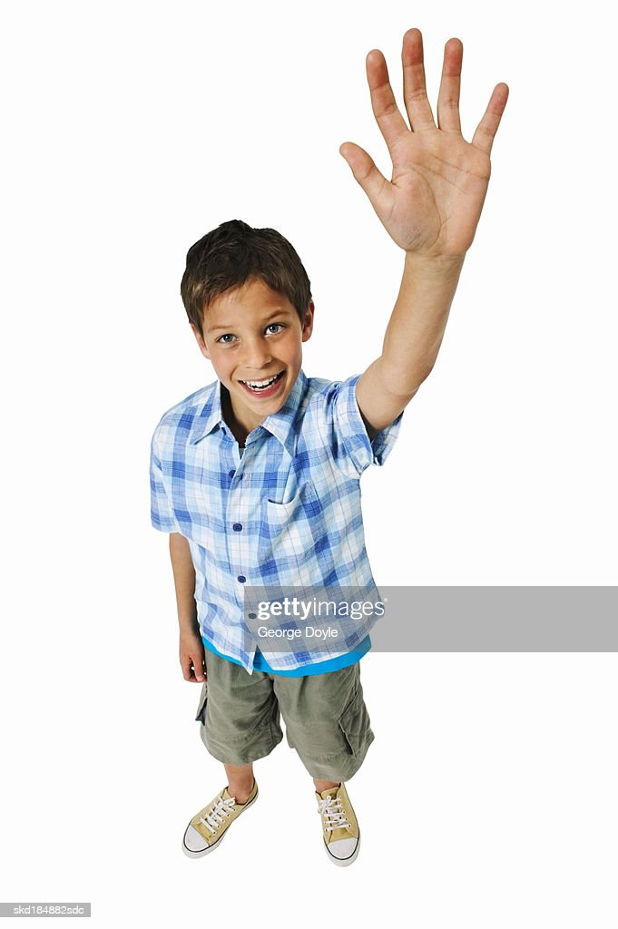 elevated view of a boy waving stock photo getty images