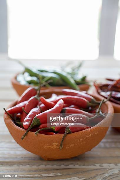 Elevated View of a Ceramic Bowl Filled with Red and Green Chillis
