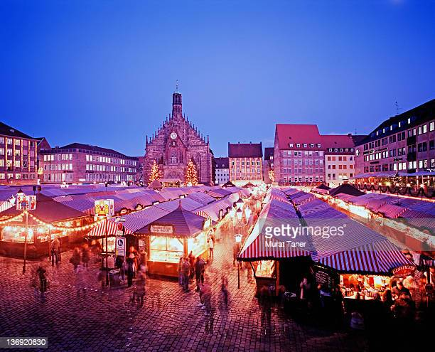 Elevated view of a Christmas market