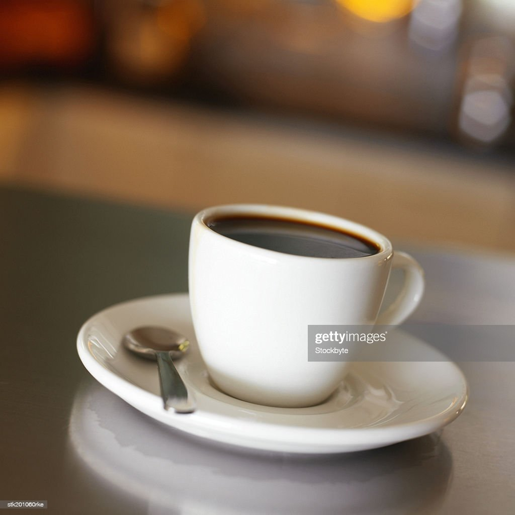 elevated view of a cup of coffee : Stock Photo