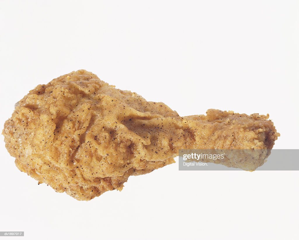 Elevated View of a Fried Chicken Drumstick : Stock Photo