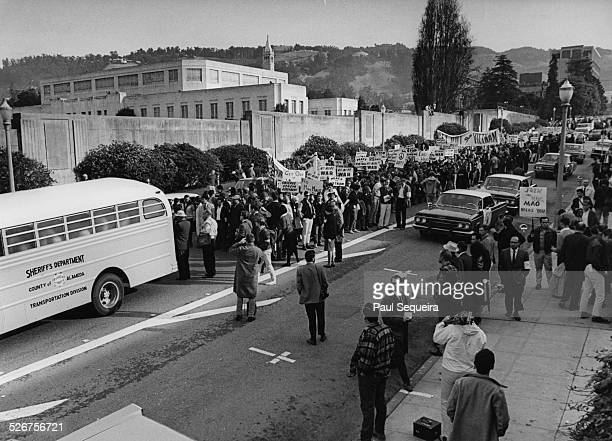 View of the large group of protesters who are marching during the Vietnam Day Protest at the University of California Berkeley California 1965