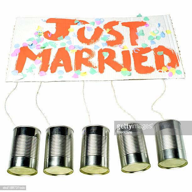 Elevated view of a just married sign