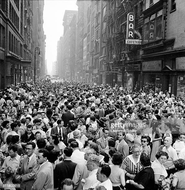 Elevated view of a large crowd gathered near Union Square during a rally in support for Julius and Ethel Rosenberg New York New York June 19 1953...