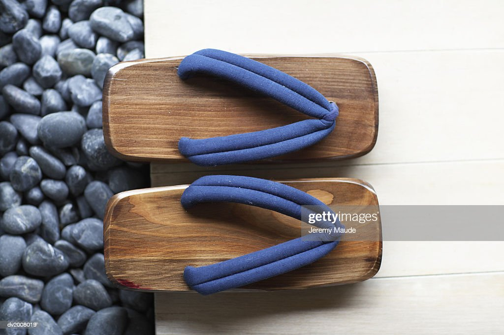 Elevated View of a Pair of Geta Sandals : Stock Photo