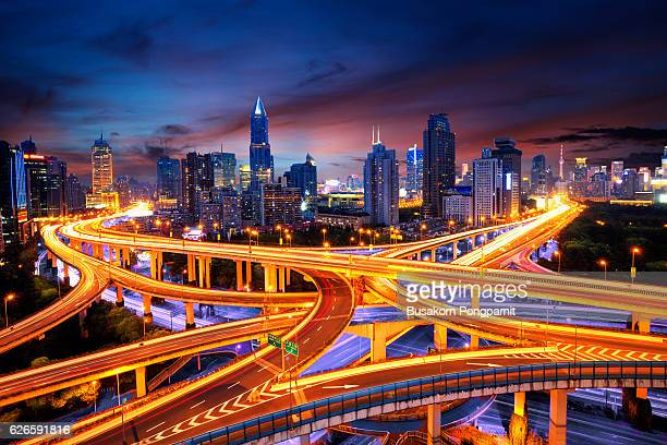 Elevated view of a Road Junction in Shanghai